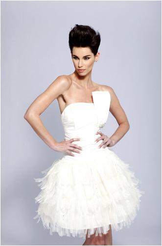 Loftiss says wedding talk the reception dress loftiss for Short feather wedding dress