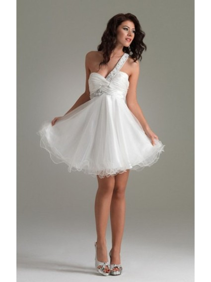 organza-ball-gowns-one-shoulder-short-little-white-cocktail-dress-npd0109