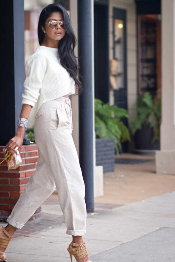Shop-Lunab-White-Cropped-Knit-Sweater-Nude-High-waist-pants-Shoemint-Heels-Mnologie-MiniAudiere-Clutch-Ted-Rossi-Snakeprint-Cuff-LA-Streetstyle-Fashion-Blogger-244